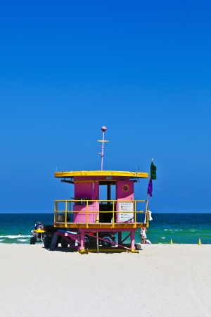wooden bay watch hut at the ocean in Miami South photo