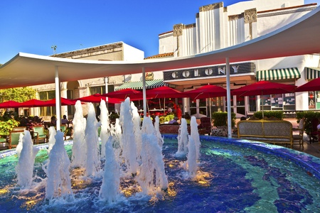 historic Art Deco Theater with fountain