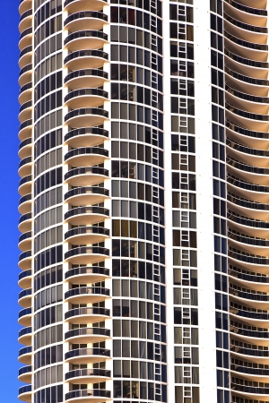 balconies of skyscrapers  at beautiful Sunny Islands, Miami in morning sun photo