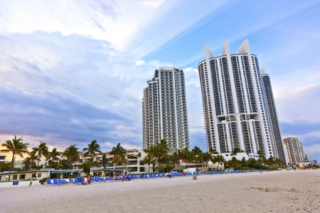 Miami beach with skyscrapers Stock Photo - 13776156