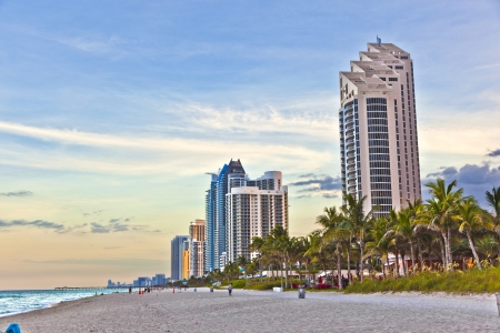 Miami beach with skyscrapers Stock Photo - 13663321
