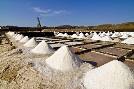 Salt piles on a saline exploration in Janubio, Lanzarote Stock Photo - 13705466