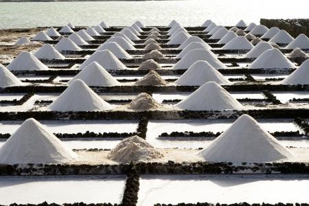 lanzarote: Salt piles on a saline exploration in Janubio, Lanzarote Stock Photo