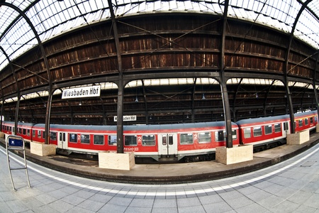 classicistic trainstation in Wiesbaden with trains