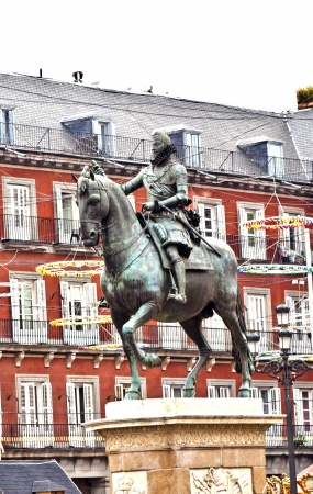 Statue of Philipp III at the Plaza Mayor in Madrid photo