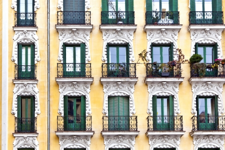 facade of typical old house downtown adrid photo