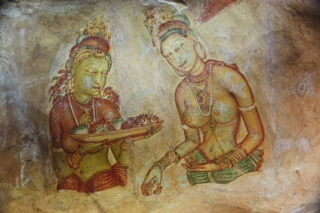 world famous frescos of ladies in Sigiriya style at the palace of Kashyapa, Sigirya, Sri Lanka Stock Photo - 13692139