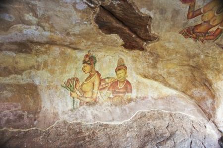 world famous frescos of ladies in Sigiriya style at the palace of Kashyapa, Sigirya, Sri Lanka