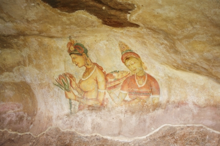 damsels: world famous frescos of ladies in Sigiriya style at the palace of Kashyapa, Sigirya, Sri Lanka