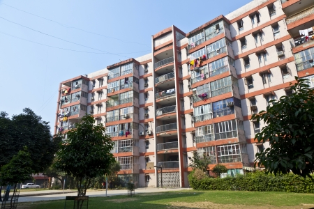 block of flats: apartment house downtown Delhi near the Connaught place Stock Photo