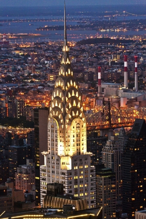 Aerial panoramic view over upper Manhattan from Empire State building by night