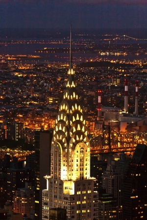 chrysler building: Aerial panoramic view over upper Manhattan from Empire State building by night