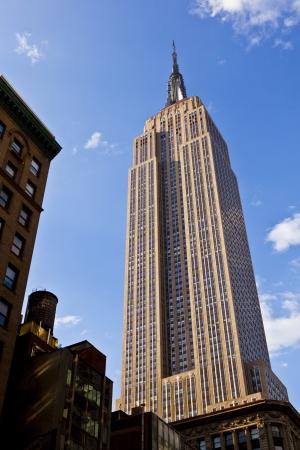 blue facades sky: facade of Empire State Building in New York