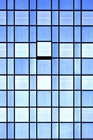 blue facades sky: windows of office buildings, cool business background