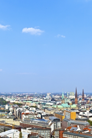 cityscape of Hamburg from the famous tower Michaelis with view to the city and the harbor Stock Photo - 13705890