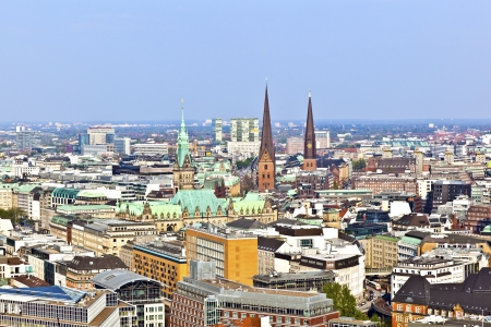 michel: cityscape of Hamburg from the famous tower Michaelis with view to the city and the harbor Editorial