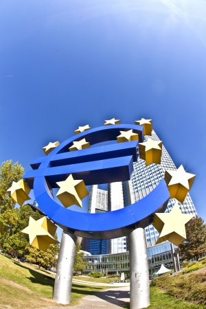 eurozone: The European Central Bank (ECB) on a sunny day, Frankfurt am Main, Germany