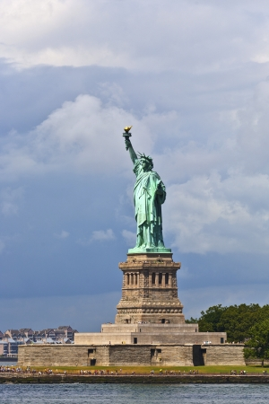 seaports: Statue of Liberty in New York City Manhattan Hudson River