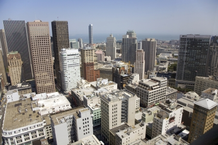 Skyline from San Francisko seen from a sky scraper with blue sky Stock Photo - 13732525