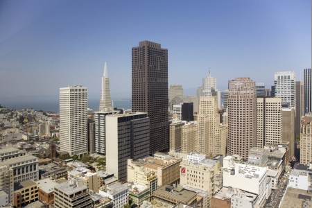 Skyline of San Francisco seen from a sky scraper with blue sky Stock Photo - 13692205