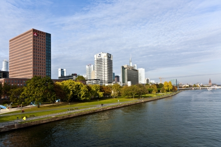 FRANKFURT, GERMANY - SEPTEMBER 10: view to skyline of Frankfurt from Friedensbruecke over river Main in the afternoon on September 10,2009 Frankfurt,Germany Stock Photo - 13692173