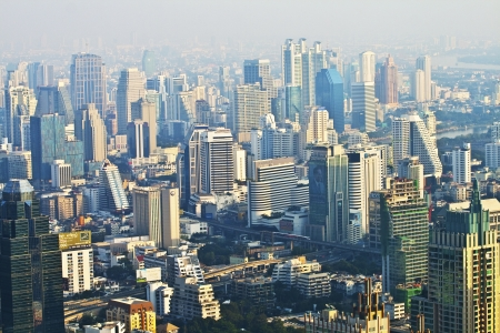 view to the skyline of Bangkok from a skyscraper