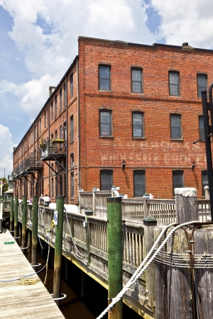 old historic brick houses at the harbor