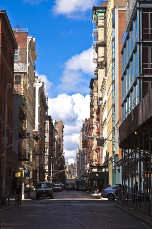 beautiful Green Street in Manhattan with old houses, New York