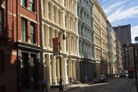 beautiful Green Street in Manhattan with old houses, New York Stock Photo - 13692206
