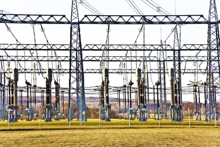 electricity relay station with high-voltage insulator and power lines Stock Photo - 13732116