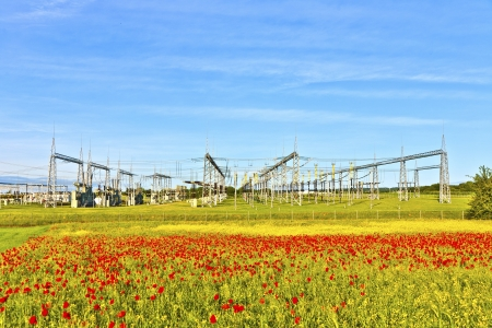 power plant and distribution station in beautiful landscape photo