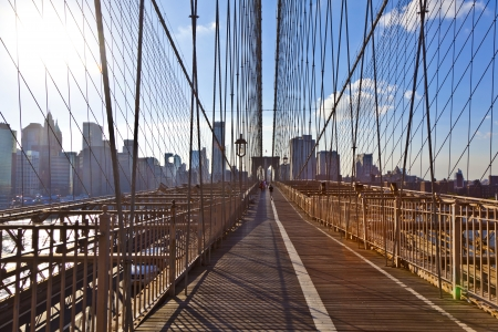 rope bridge: famous Brooklyn Bridge in New York