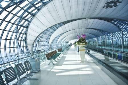 infrastructure buildings: departure Gate and hall in the new Airport Suvarnabhumi in Bangkok