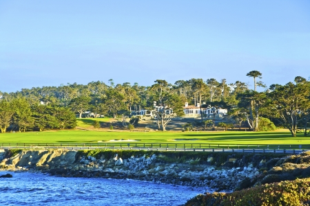 golf of california: beautiful houses near the Pfeiffer beach in California Editorial