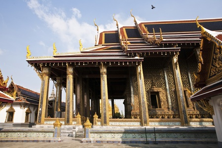 famous temple Phra Sri Ratana Chedi covered with foil gold in the inner Grand Palace photo