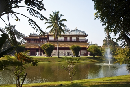 bang pa in: beautiful buildings and park in the Summer palace Bang Pa In of the King of Thailand near Ajuttaya