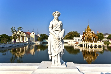 Statue at Bang Pa-In Palace near Bangkok, Thailand (Summer Palace of the Thai king)  near Ajuttaya