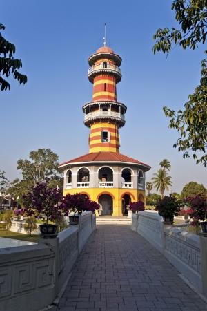 The Royal Residence (Phra Thinang) and Sages Lookout Tower (Ho Withun Thasana) of the Thai royal Summer Palace of Bang Pa-in near Ayutthaya and Bangkok Stock Photo - 13715279