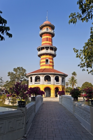 The Royal Residence (Phra Thinang) and Sages Lookout Tower (Ho Withun Thasana) of the Thai royal Summer Palace of Bang Pa-in near Ayutthaya and Bangkok Stock Photo - 13715279