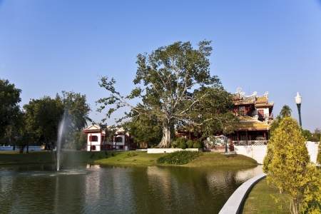 bang pa in: beautiful buildings and park in the Sommerpalace Bang Pa In of the King of Thailand near Ajuttaya Editorial