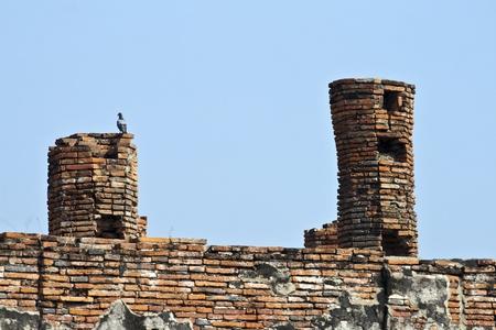 ajutthaya: birds nest in  famous temple area Wat Phra Si Sanphet, Royal Palace in Ajutthaya