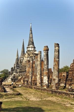 ajutthaya: famous temple area Wat Phra Si Sanphet, Royal Palace in Ajutthaya