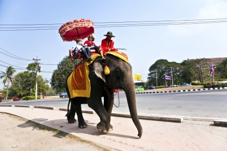 tourists are riding on an elephant thru the old part of Ajutthaya