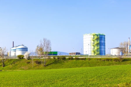 silo in Industry Park in beautiful landscape near Frankfurt photo