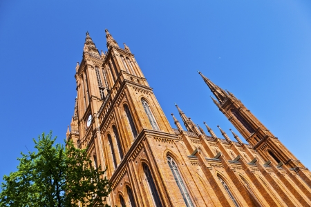 famous Markt Kirche in Wiesbaden, a brick building in neo-Gothic style Stock Photo - 13730838
