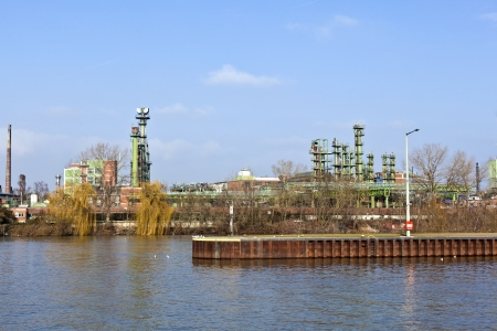 old chemical plant at river Main in Frankfurt photo