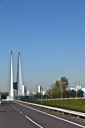 industry park: bridge of an Industry Park in beautiful landscape near Frankfurt