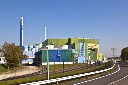 power plant of an Industry Park in beautiful landscape near Frankfurt photo