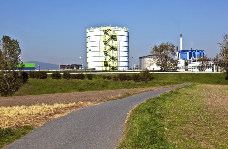 industry park: silo in Industry Park in beautiful landscape near Frankfurt Stock Photo