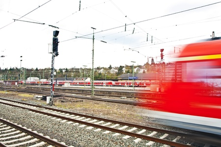Train leaves the station with speed Stock Photo - 13743969